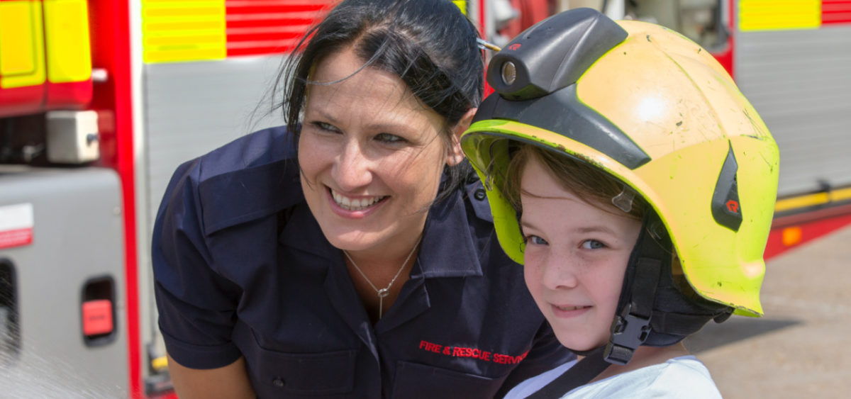 Kent Fire & Rescue fire woman with child
