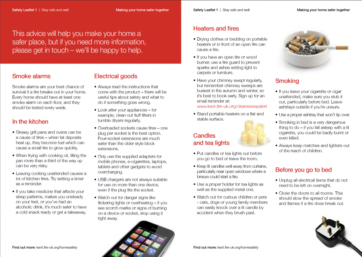 Kent Fire & Rescue inner page campaign examples