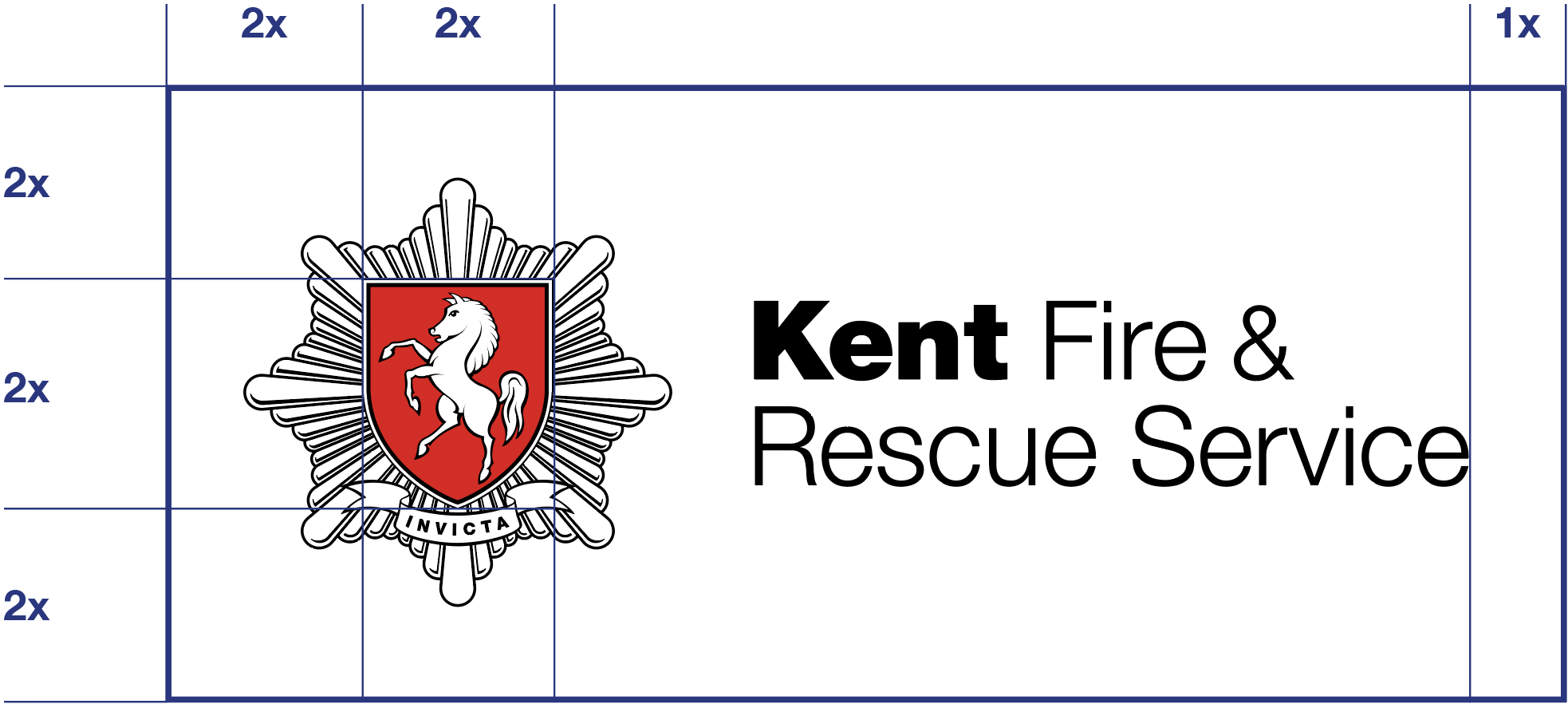 Kent Fire & Rescue Service logo with exclusion zone