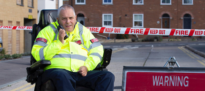 Kent Fire and Rescue officer on phone