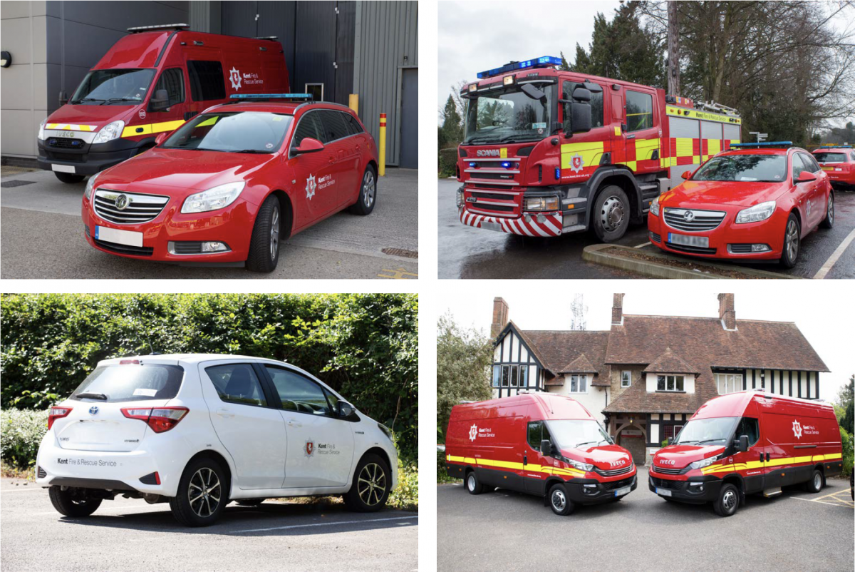 Kent Fire & Rescue livery on multiple vehicles